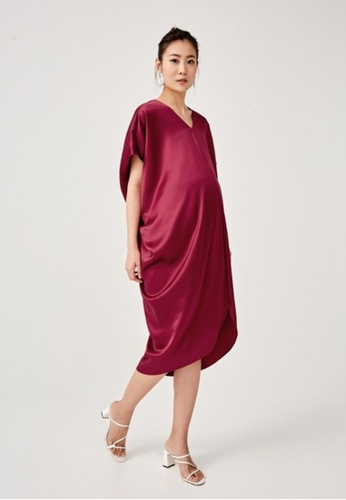 Love, Bonito purple Bedelia Satin Kaftan Dress 7942AAAB6C39AAGS_1