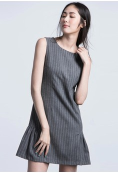 Pinstriped Minimalist Dropwaist Dress