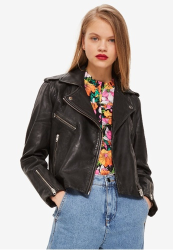 TOPSHOP black Black Leather Biker Jacket 83AE6AADF87FE1GS_1