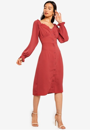 MISSGUIDED red Button Down Milkmaid Midi Dress 8CF8DAAC87BD2EGS_1