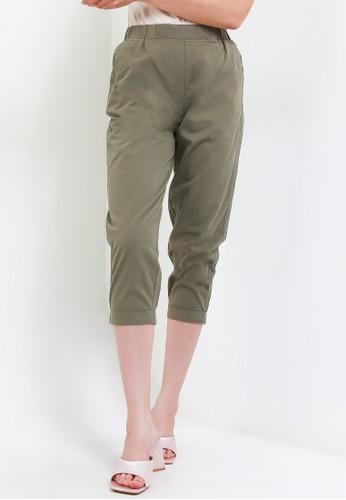 Giordano green Women's Cotton Capri EF181AAC58528EGS_1