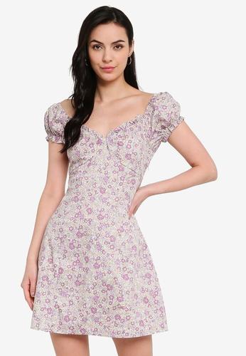 Cotton On purple and multi The Sweetheart Neck Mini Dress 5BAFEAA568FBDEGS_1