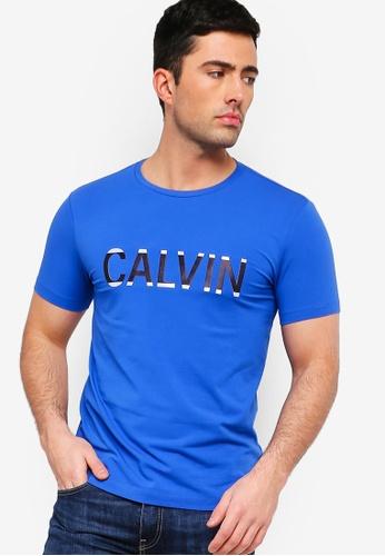 Calvin Klein 藍色 LOGO修身T恤 12E3BAA929EE63GS_1