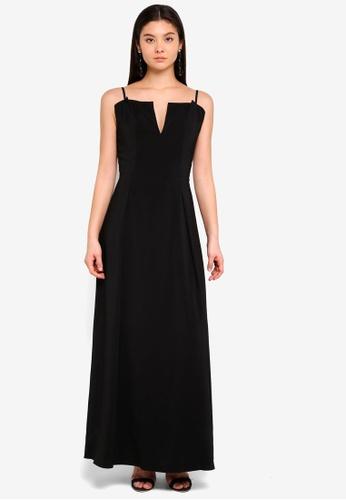 Preen & Proper black Strap Maxi Dress AE394AAC1C2B89GS_1