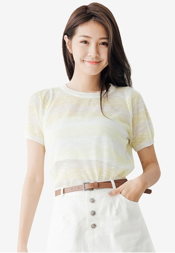 Tokichoi yellow Relaxed Stripes T-Shirt 48C3AAA69A5FDFGS_1