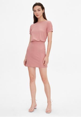 Pomelo pink V Open Back Ribbed Dress - Pink AA1E0AABF557AFGS_1