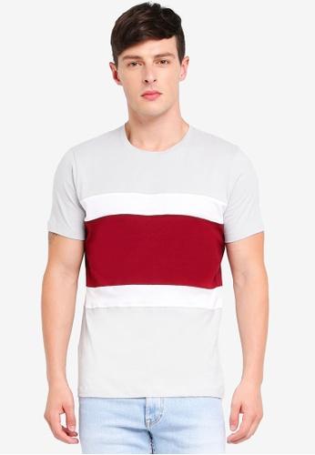 MANGO Man grey Contrast Panel T-Shirt 3BD5EAA521FB0CGS_1