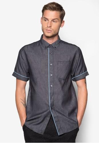 滾邊丹寧短袖襯衫, 服zalora 心得飾, 襯衫
