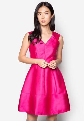 奢esprit暢貨中心華V 領褶飾洋裝, 服飾, 洋裝