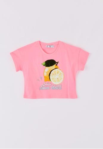 Terranova pink Girls' Crop T-shirt With Magic Sequins 37206KA515A6B7GS_1