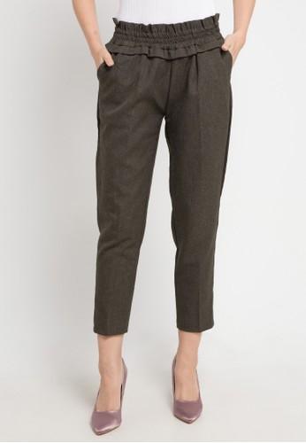 MEITAVI'S brown Ruffle Waist Straight Pants E2532AAAE9AD1AGS_1