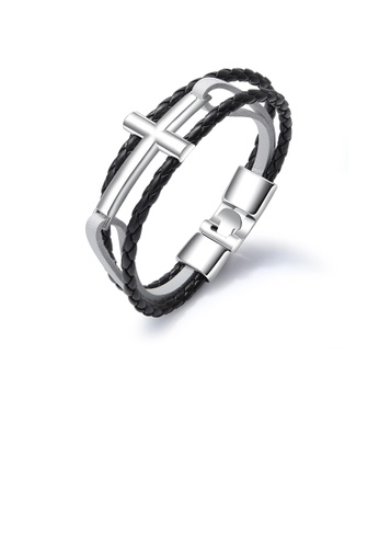Glamorousky silver Simple Classic Black 316L Stainless Steel Cross Black and White Leather Bracelet B5A8FACCF354D0GS_1