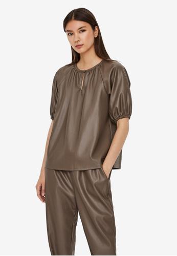 Vero Moda brown Sola Gloria Short Sleeves Coated Top 09E9BAAB674519GS_1