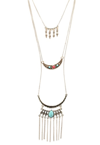 Red's Revenge blue and multi Double Half Moon Layered Necklace 5142AAC1E7D893GS_1