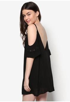 Lace Insert V-Back Swing Dress