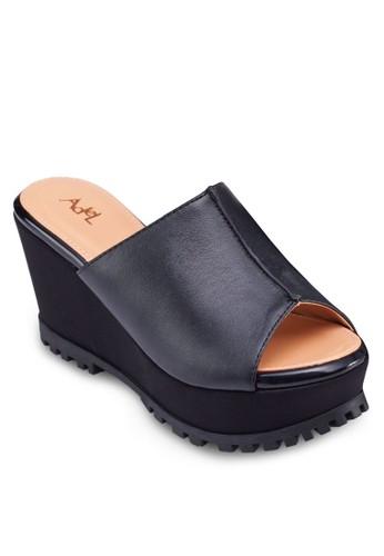 zalora 心得 ptt魚口寬帶楔形涼鞋, 女鞋, 楔形涼鞋