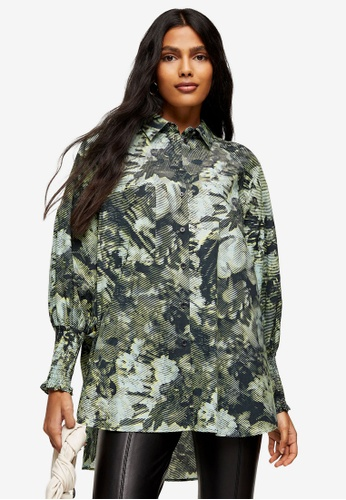TOPSHOP green Green Print Shirred Oversized Shirt 2B3A7AA3A2E821GS_1
