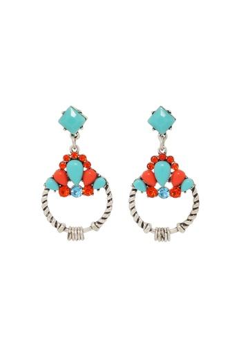 Jaysa Collection silver Cyan Bohemian Earrings with Deep Orange Crystals JA875AC0EZFOSG_1