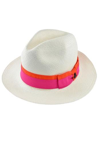 DOSSCAPS white and pink and orange Ecua-Andino Classic White Panama Hat (Ribbon Band) DO290AC0S0J8MY_1