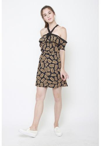Sophialuv black and multi Cross My Heart Dress in Gold CC2BBAA851CF38GS_1