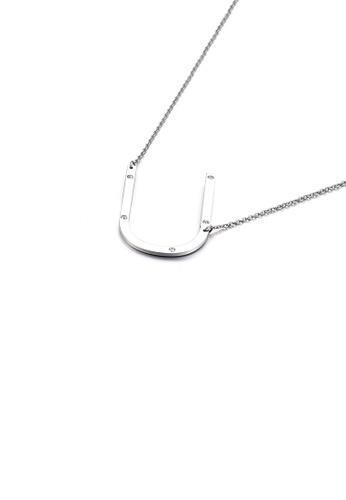 Glamorousky 白色 時尚個性英文字母U 316L鋼吊墜配鋯石及項鏈 7FC76AC8BE714FGS_1