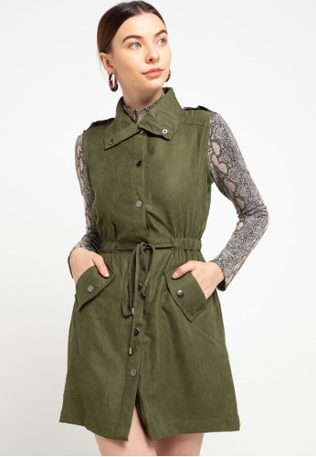 SIMPLICITY green Waist Coat With Snap Button 47E48AAED18C75GS_1