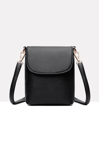 Lara black Women's Minimalist Plain Leather Small Cross-body Bag - Black 1C1BEAC08178C6GS_1