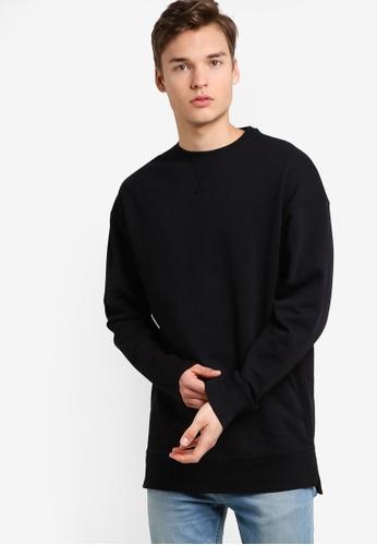New Look black Black Dropped Shoulder Crew Neck Sweater NE182AA08NEDMY_1
