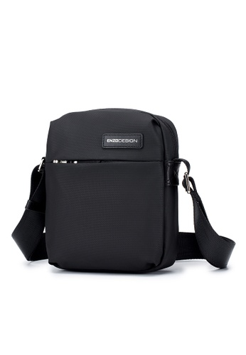 ENZODESIGN black ENZODESIGN Surface Coated Nylon Mini Crossbody Bag D9FE1ACBE06E57GS_1
