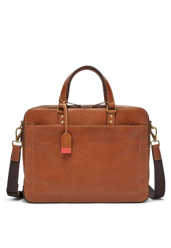 1d21bfb65 Fossil brown Fossil Defender Brown Leather Messenger MBG9346222  FO164AC0SYQ1MY_1