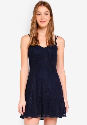 Hollister navy Bare Lace Fit and Flare Dress B2DB6AAECFEF4DGS_1