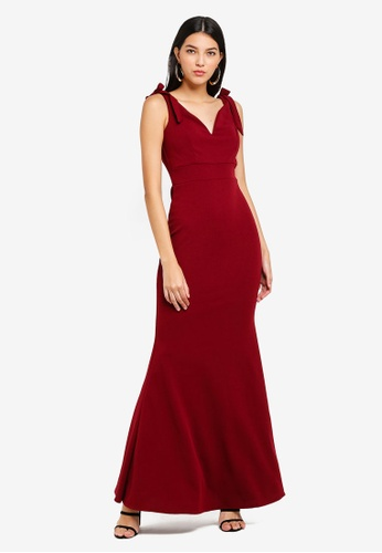 WALG red Bow Detailed Maxi Evening Dress 1BDE6AA8AA7CA1GS_1