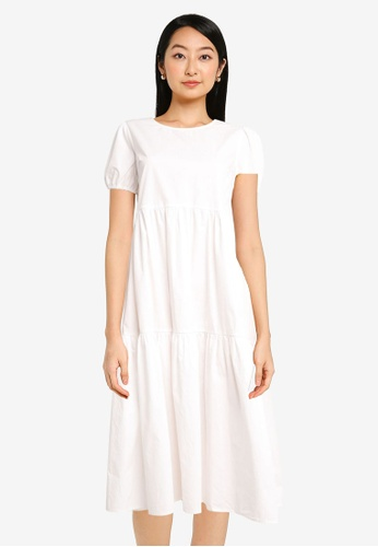 ZALORA BASICS white Puff Sleeve Smock Midi Dress C7C54AA7E59611GS_1