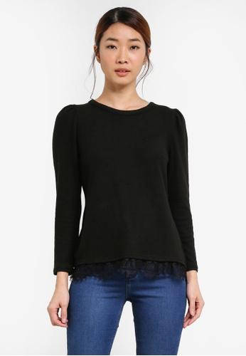 Dorothy Perkins black Petite Black Lace Hem Mutton Top DO816AA0SF9SMY_1