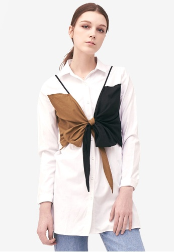 Kodz white Buttoned Up Shirt With Ribbon Detail DC16FAA63DDDB8GS_1