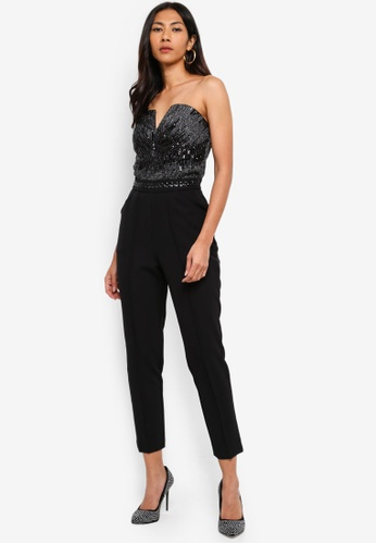 Lipsy black Bandeau Sequin Jumpsuit 59C85AA1BE4BD2GS_1