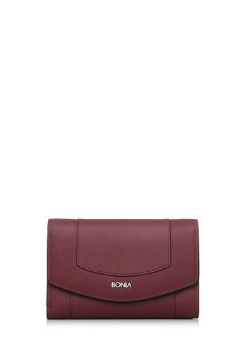 BONIA red Bonia Maroon Soho Short Three Fold Wallet 64151AC5668823GS_1