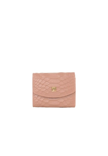 Valentino Rudy pink Valentino Rudy Italy Ladies Croc-Effect 3 Fold Card Wallet 040734-702 F5C07ACBE8031FGS_1