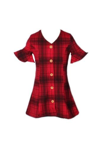 Mini Moley red Checkered Button Down Girl's Dress 0FB6FKA96A7F58GS_1