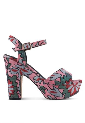 Nose pink Floral Platform Heels NO327SH0SJ19MY_1
