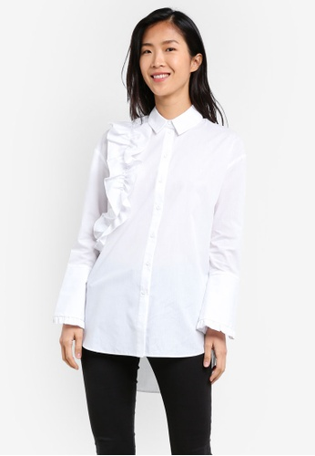 River Island white Long Sleeve Frilly Shirt RI009AA0S8S9MY_1