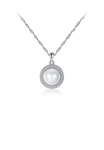 Glamorousky white 925 Sterling Silver Fashion and Elegant Geometric Round White Freshwater Pearl Pendant with Cubic Zirconia and Necklace 7C056ACC8FED2AGS_1
