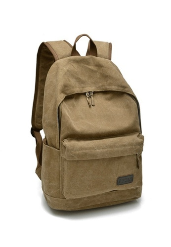 Jackbox brown Korean Classic Simple Canvas Ipad Laptop Bag Backpack 521 (Khaki) JA762AC46XDLMY_1