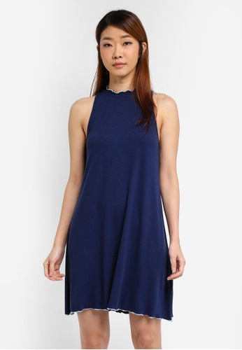 Something Borrowed blue and navy Contrast Detail Rib Dress 0D8F6AAEAD5D24GS_1