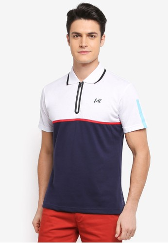 Fidelio white and multi and navy Zipper Casual Polo Tee F2E69AABE3BA8BGS_1