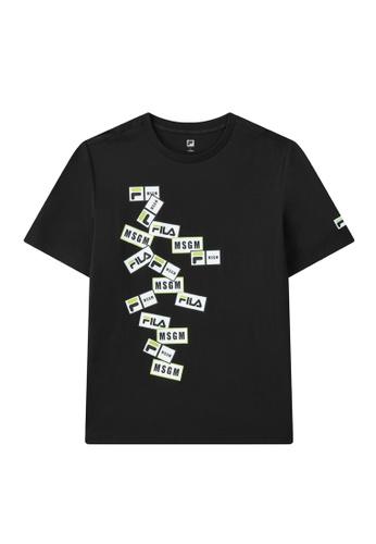 FILA black FILA x MSGM Layer Logo T-shirt 81D4AAA5C1DB37GS_1