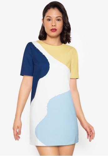 ZALORA WORK multi Printed Short Sleeve Boxy Dress F8C0AAAA7F0A64GS_1