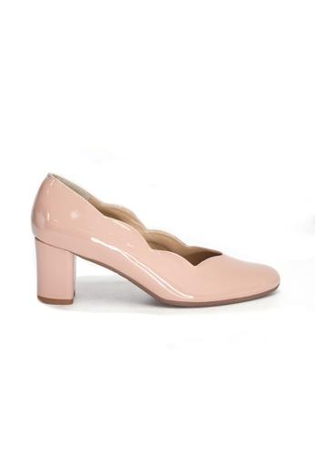 Shu Talk pink Elegant Scalloped Patent Leather Heels 0171DSHFC155B3GS_1