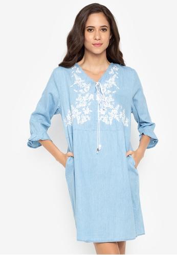 BAYO blue Brett Quarter Sleeves Dress 8AD2EAA493E1E9GS_1
