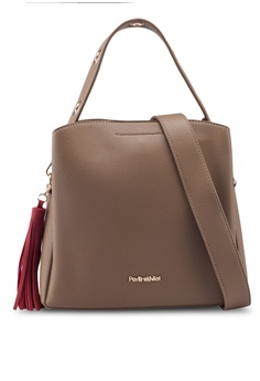 bc3b5f318e7 Perllini&Mel brown Faux Leather Eyelet Top Handle Bag 8A89EAC56CB2F3GS_1